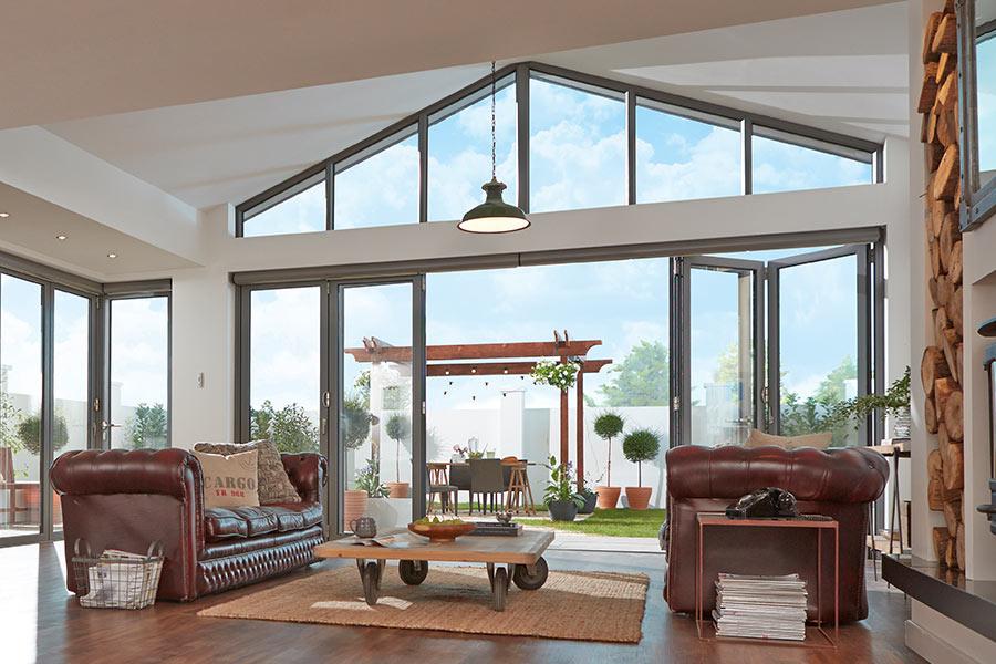 Bi-fold door internal view of extension - bifold doors