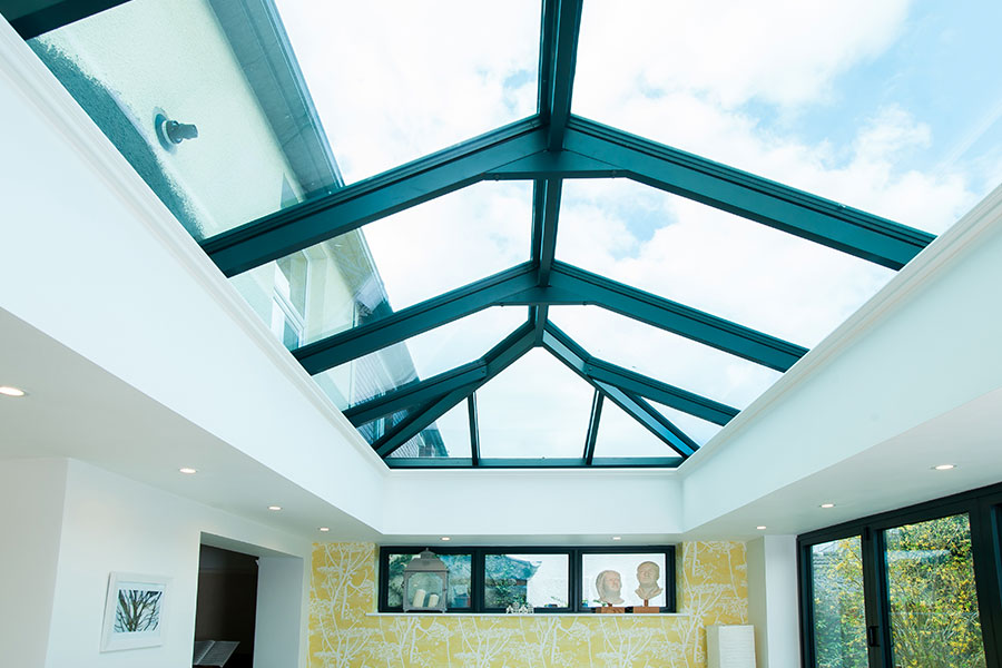 Black lantern roof allows plenty of light to flow into this extension