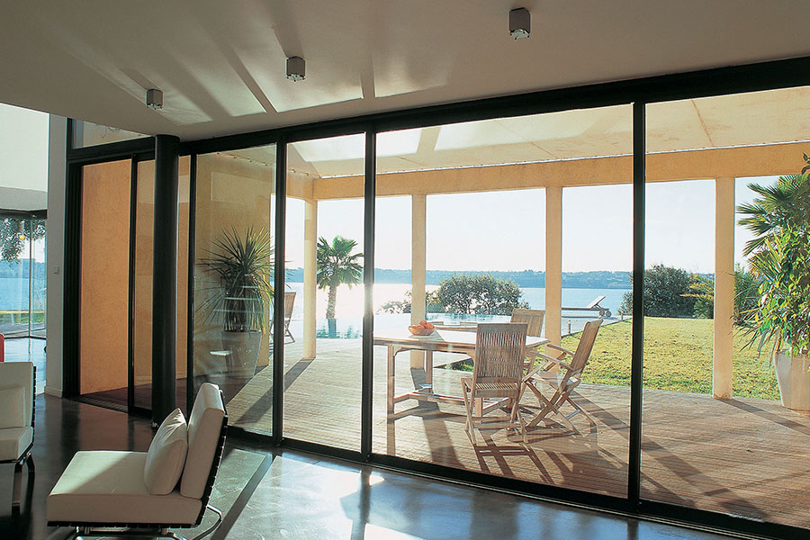 Black aluminum sliding patio door with slim sightlines