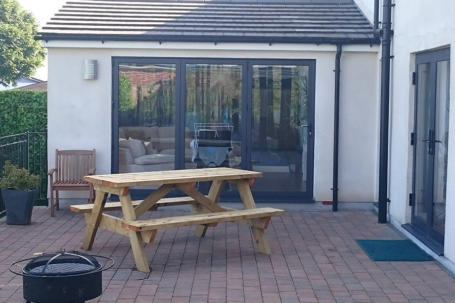 Black aluminium bifold door for patio