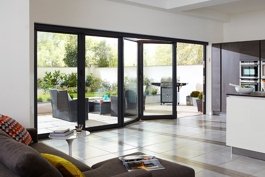 Black aluminium bi-fold door