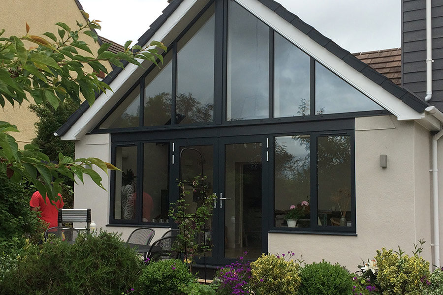 Gable end extension and black french door