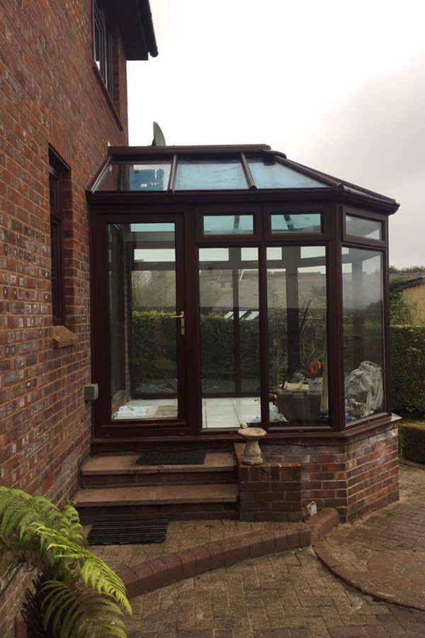 Conservatory glass roof installation