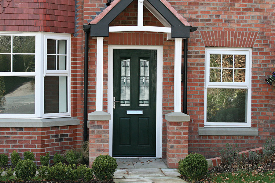 Composite entrance door with two glass panels