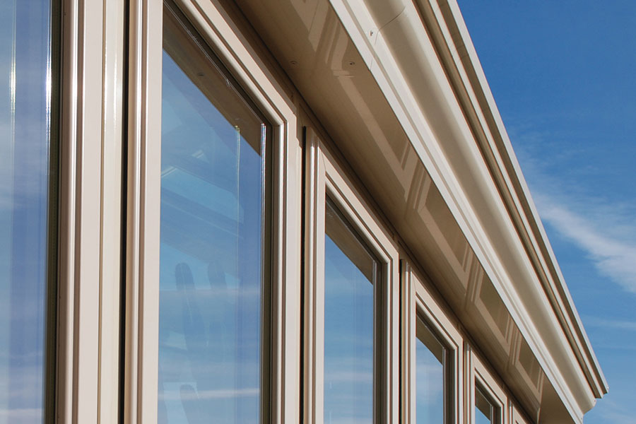 Close up of uPVC windows within a conservatory