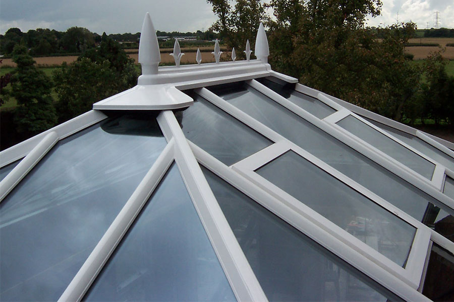 Glazed uPVC conservatory roof with decorative detail