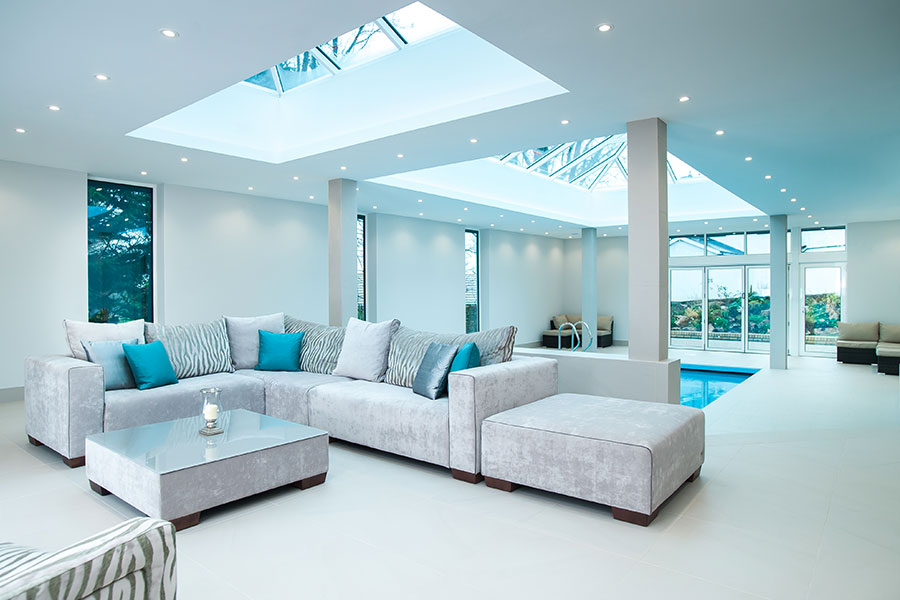 An extension with lantern roof allows plenty of light into the room