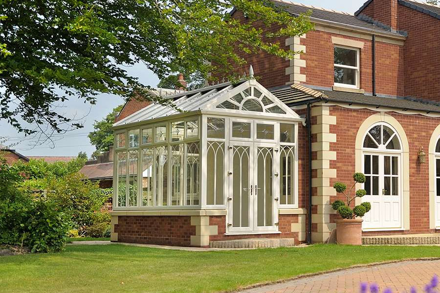 Gable style conservatory with uPVc windows, doors and roof