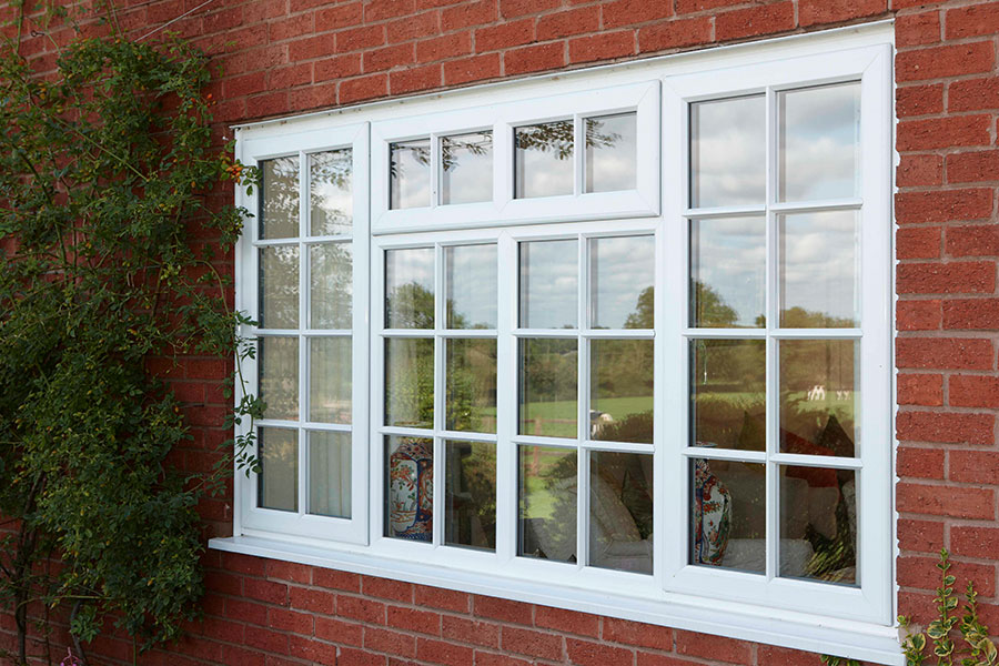 Georgian style casement window in white uPVC