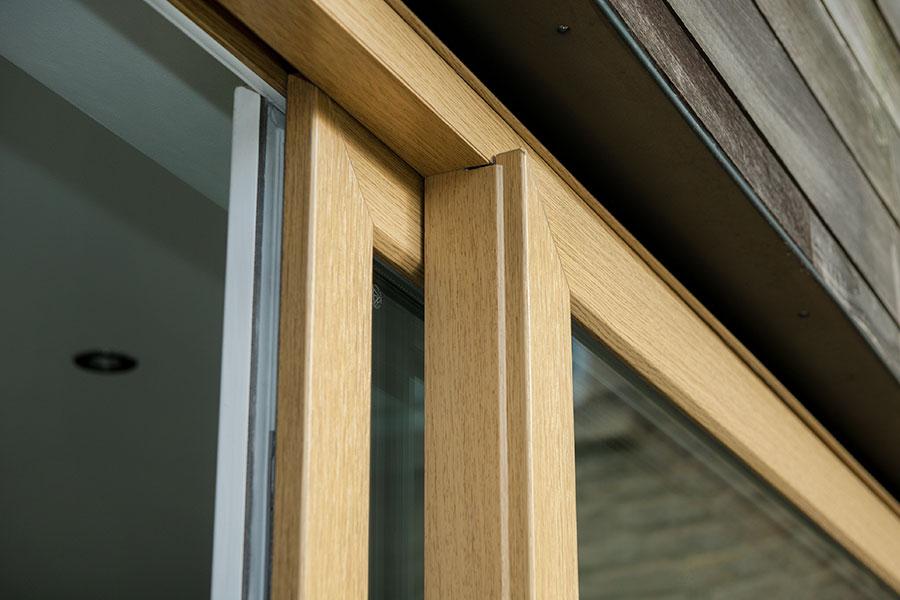 Oak effect sliding patio door close up