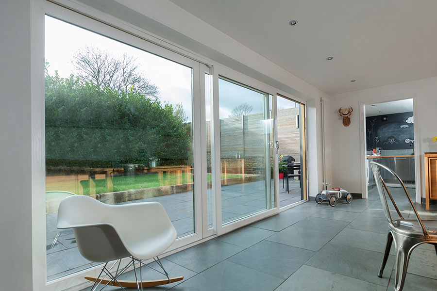 Wide span sliding patio door in white