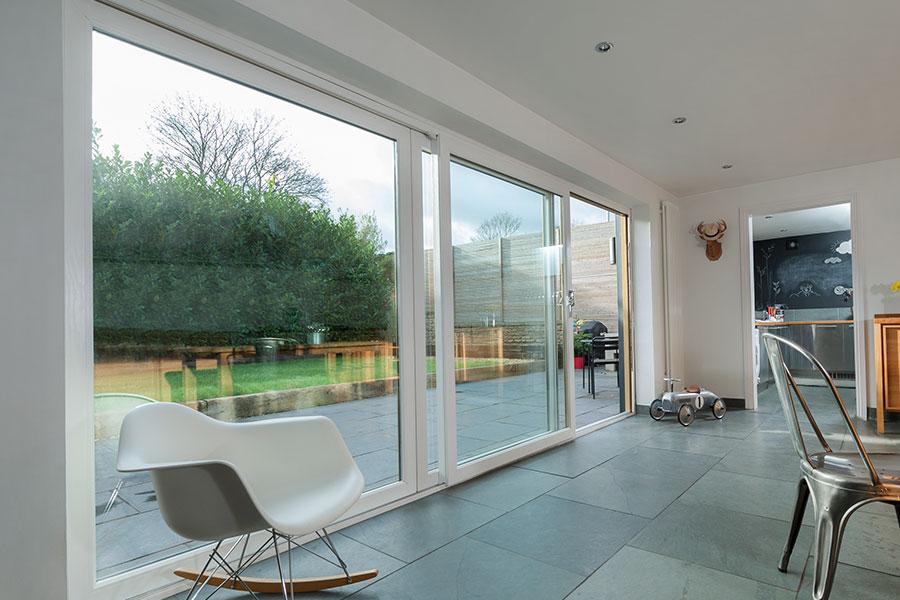 Wide span sliding patio door in white