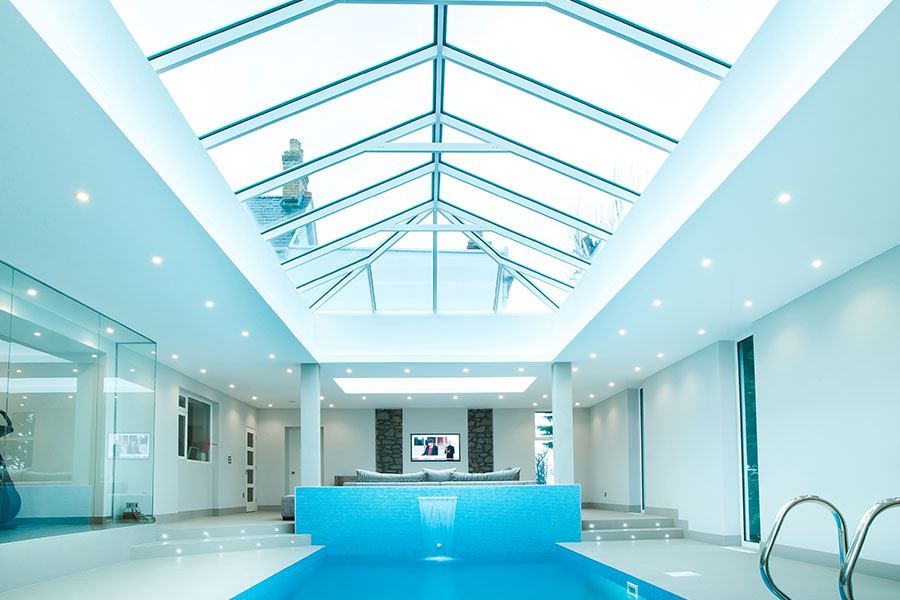 Extension with pool and bright open lantern roof structure