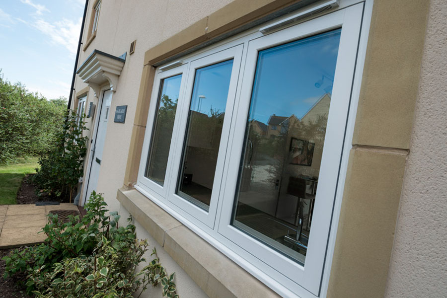 White traditional look flush sash window