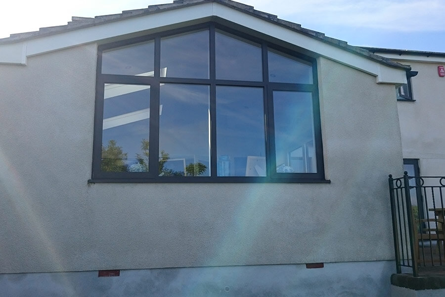Gable end bespoke Black aluminium casement windows