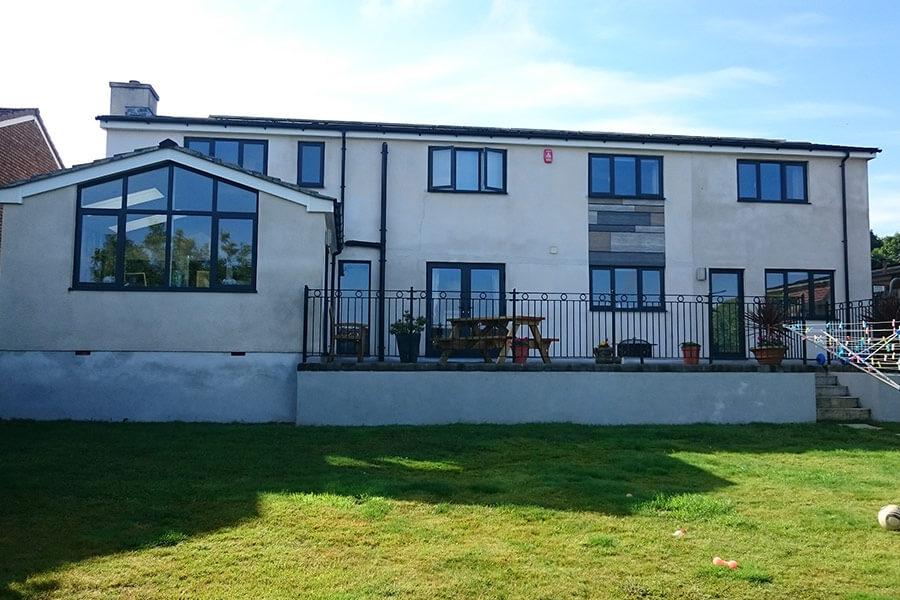Black aluminium casement windows home installation