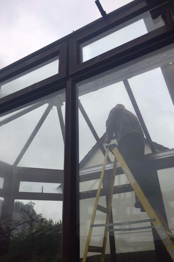 Conservatory glass roof initial roof removal