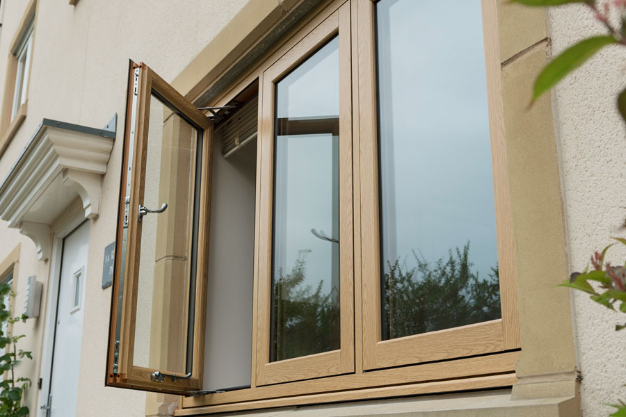 Oak woodgrain finish uPVC flush sash window