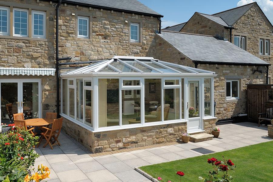 Edwardian uPVC conservatory with uPVC windows and doors