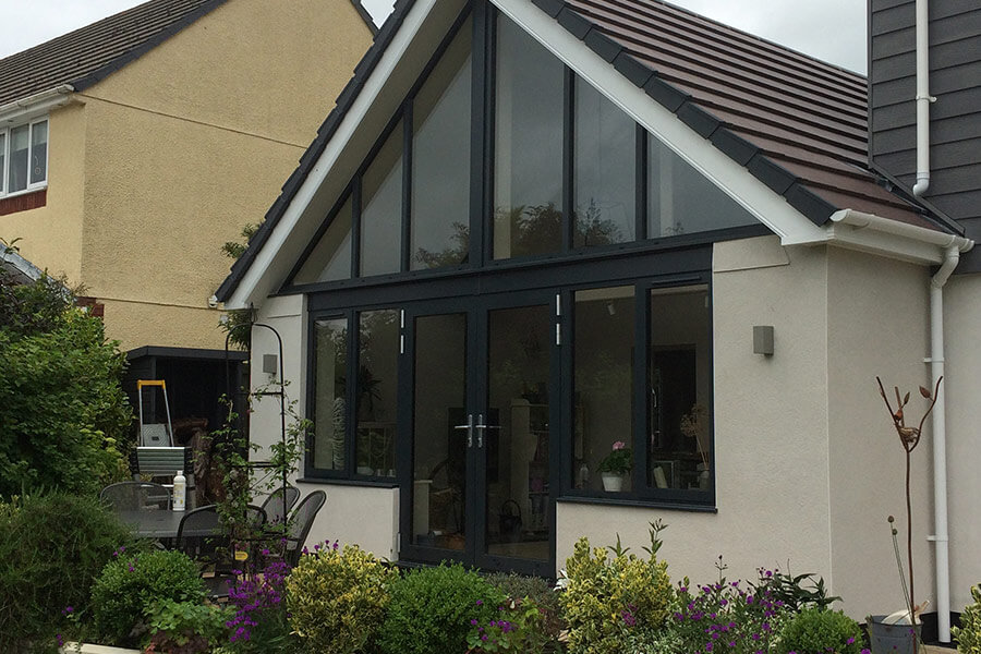 Black uPVC french door on gable end