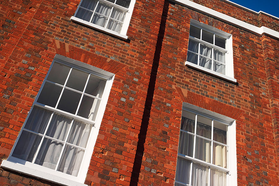 Vertical sliding sash windows in white