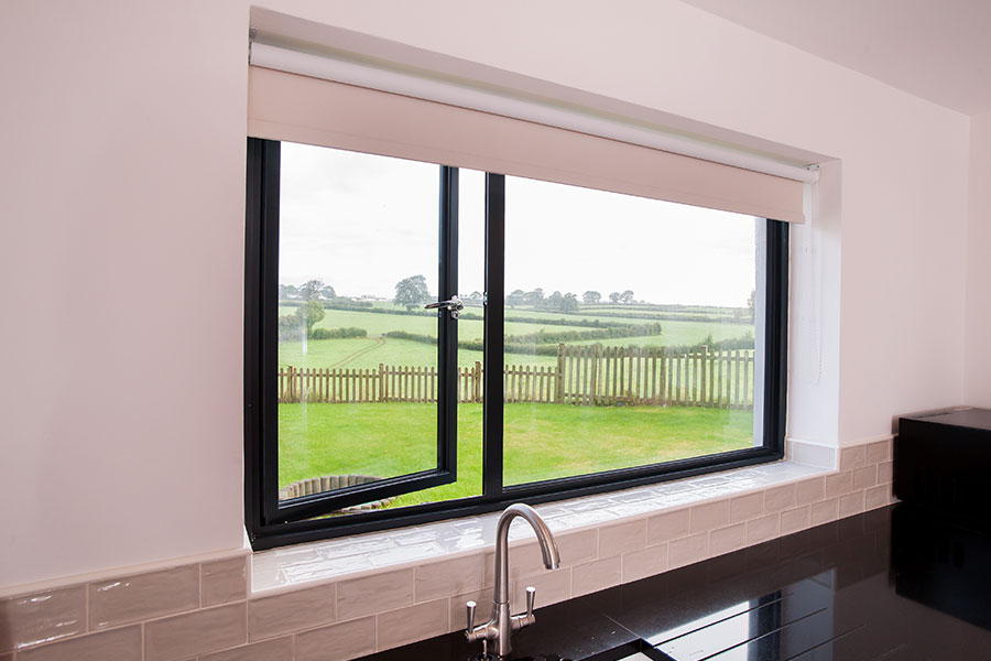 Black casement windows for kitchen