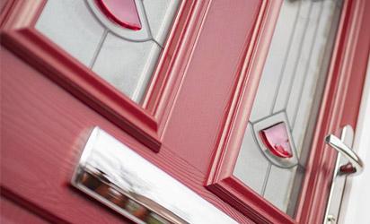 Red composite door close-up