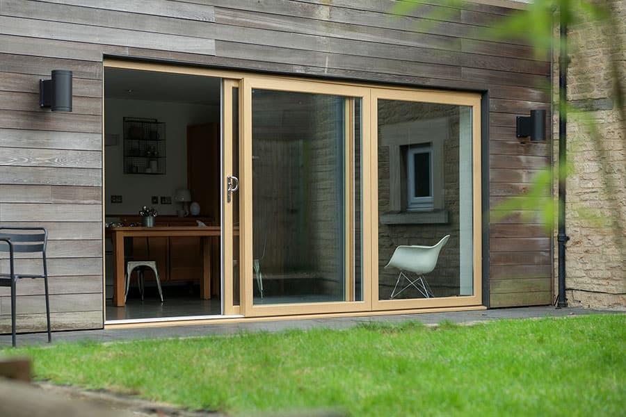 Cream sliding patio door