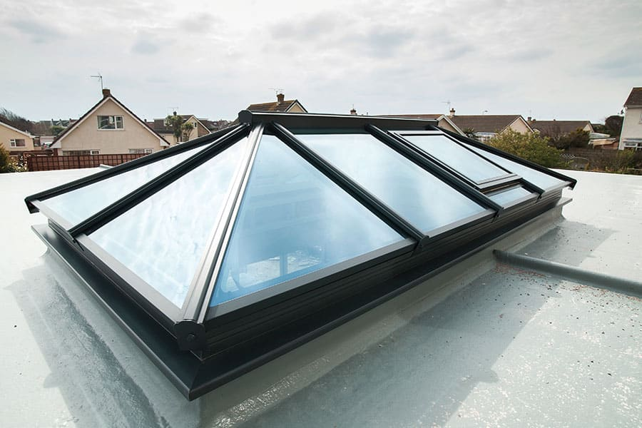 External view of black glass lantern roof